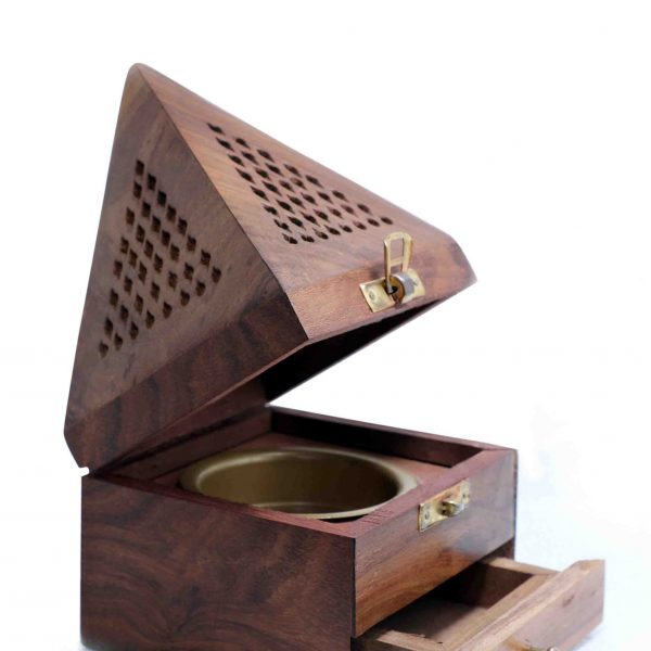 Wood incense burner
